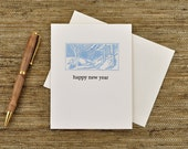 Happy New Year - with wooded scene - Letterpress printed holiday card