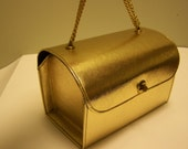 SALE WAS 45 - 1950s Box Handbag - Gold Foil and Chain - YazBerry - Vintage