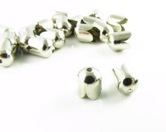 6.5mm x 8mm Bright Silver Bead Caps -  25 Pcs- LCE015Y