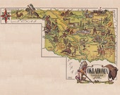 old map of Oklahoma from 1946 by French artist Jacques Liozu, a vintage printable digital image, 1436