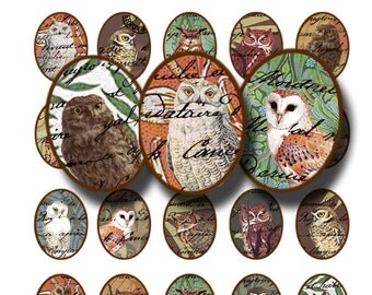 Wise old owls collage sheet, in 30 x 40 mm ovals, a printable digital download, no. 1449
