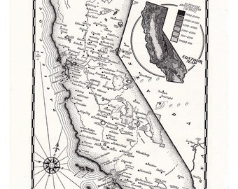 old  map of California from the 1950's, a vintage printable digital download, no. 833.