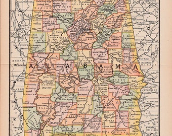 map of Alabama from 1890, a printable digital map no. 293