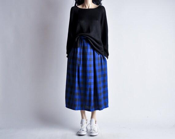 blue and black plaid midi skirt m