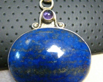 SALE  Sterling Silver Large Lapis and Amethyst Pendant