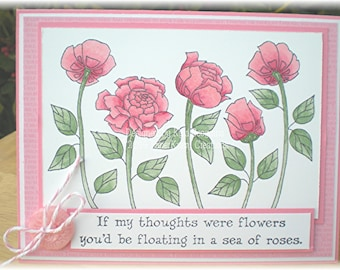 Thinking of You Card with Rose Theme, Cards with Roses, Support Cards