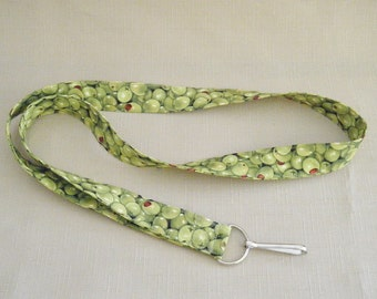 Olives - handmade fabric lanyard