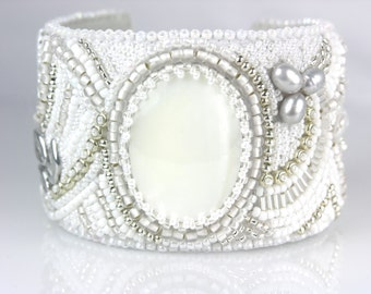 Beaded Jewelry Bead Embroidery White Bracelet Cuff Mother of Pearl
