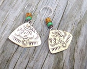 MADE TO ORDER, Tribal Inspired Ornate Stamped Bronze Fan Shape Earrings