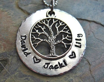 Personalized Family Tree Necklace, Tree of Life Necklace, Grandma Necklace, Mom Jewelry, Hand stamped, Childrens Names,