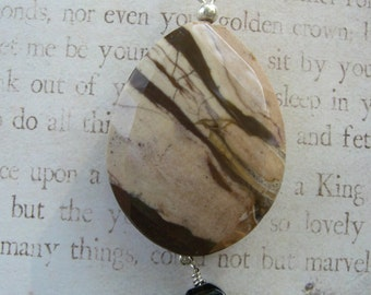 Brown Zebra Jasper mixed with smoky quartz and sterling