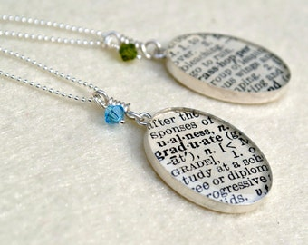 CUSTOM Dictionary Word Necklace - Your choice of word - Recycled Book Jewelry - Large Oval with Crystal on Sterling Silver