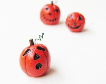 Clay Halloween Pumpkin- Miniature Handmade Jack-O-Lantern