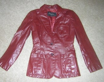 Wilson's Vintage Suede & Leather Women's Lined Reddish Brown Leather Jacket Size 8