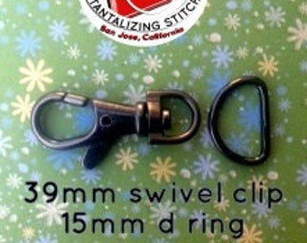100 Sets 1.5 Inch Swivel Clips with Matching D Ring (available in Antique Brass, gun metal, and gold color  Finish)