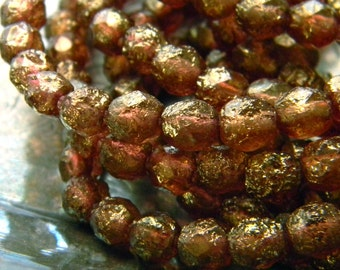Gilded Gingersnap (25) -Czech Glass Faceted Rounds 6mm