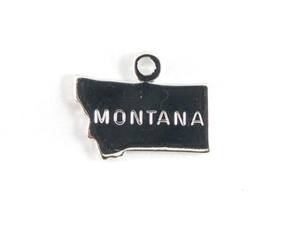 Engraved Tiny SILVER Plated on Raw Brass Montana State Charms (2X) (A425-B)