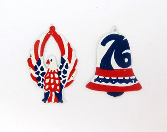 VIntage Red White and Blue Enamel Liberty Bell and American Eagle Charms (8X) (E581)