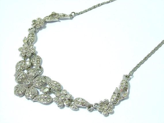 Vintage/ estate Art Deco / 1950s chrome plated and paste/ diamante, rhinestone flower necklace