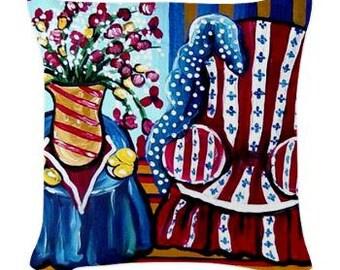 Red Chair Still Life Folk Art Pillow - Woven Throw Pillow Whimsical Art by Renie Britenbucher