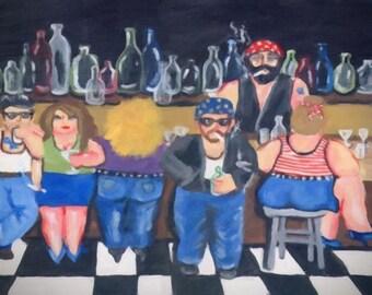 Biker Bar Divas Fun Harley Fun Whimsical Folk Art Giclee Print