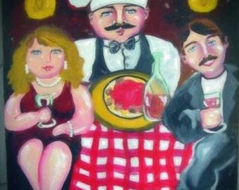 Italian Dinner Night Romantic Couple Out Fun Whimsical Folk Art Giclee Print