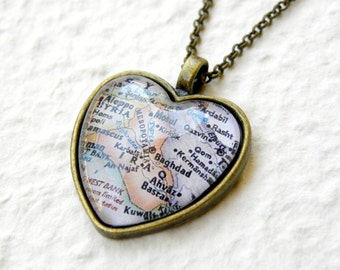 Iraq Map Necklace - Featuring Baghdad, Mosul, and more