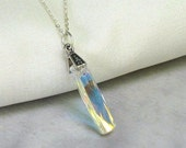 Swarovski Crystal Column Pendant, Sterling Silver Necklace, Modern Art Deco Jewelry, Gift for Her