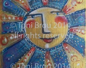 PRINT 5x5 or 8x8 of my original acrylic painting titled Hope, smiling sun face blues and golds Toni Brou CBS Sunday Morning artist Kansas