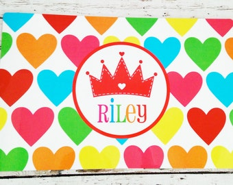 Personalized Placemat with Rainbow Hearts and Princess Crown