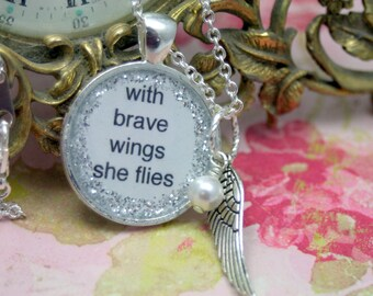 With Brave Wings She Flies PEARL Statement Necklace Angel Fairy Wing Layering