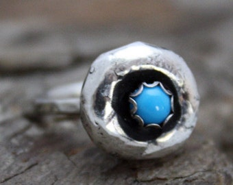 SALE Fine Silver Turquoise Nugget Ring