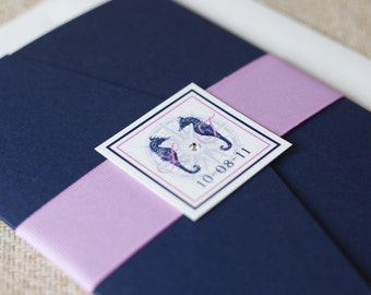 Elegant Nautical Pocket Fold Wedding Invitation - Design Fee