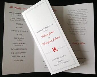 Philadelphia Love Inspired Trifold Wedding Programs