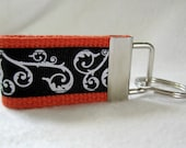 Scroll Mini Key Fob - ORANGE  Black - Small Swirl Key Chain - Scrolls Keychain - Handmade Key Ring -  Luggage Identifier