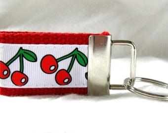 Cherries Mini Key Fob - Small Key Chain - RED Small Fruit Keychain - Cherry Zipper Pull - Cherry Key Ring