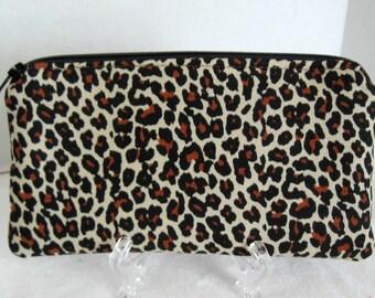 Cheetah Zippered Pouch - Brown Cheetah Cosmetic Bag - Animal Print Cash Envelope - Leopard Gadget Case
