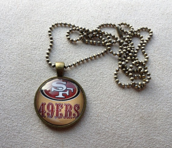 san francisco 49ers pendant necklace by queenbeader on etsy