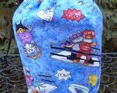 Cat knitting project bag, WIP bag, drawstring bag, game tile bag, cat wrestling, Suebee
