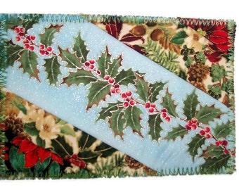 Fabric Postcard, Holly, Christmas