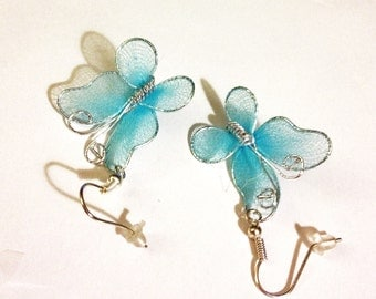 Spring Turquoise Butterfly Earrings      A Very Pretty Turquoise Nylon  Spring and Summer Earrings
