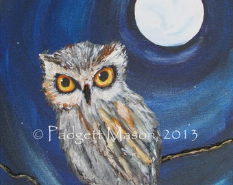 """Original 11"""" x 14"""" acrylic mixed media owl painting by Padgett Mason thick texture 'Watchful'"""