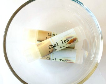 Chai Tea Lip Balm With Shea Butter, Lip Gloss, Lip Butter, Flavored, Natural, Handmade, Wedding, Baby, Shower Favors