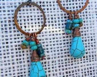 Bohemian Turquoise, Howlite and Hoop Wire Wrapped Beaded Copper Jewelry  Gypsy Boho Earrings Handmade SRA Artisan jewelry