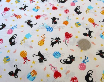 Cute Black Cats and Balloons Cream Japanese Fabric - HALF YARD