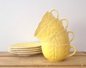Yellow Teacup Set - Leaf Pattern - Buttery Yellow - SET of 4