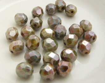 Fire Polish Czech Glass Beads 6mm Faceted Round Opaque Luster Green (Qty 25) SI-6FP-OLG
