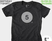 5th Fifth Birthday Shirt, Glow-in-the-Dark, Kids BIRTHDAY TShirt, 5th Birthday, Boys, Birthday Number Tshirt, Kids Birthday Party Favor