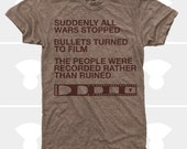 Men TShirt Film v. Bullet, Men Shirt, Typography TShirt, Photography, Inspirational Quote, War, Brown (4 Colors) TShirt for Men