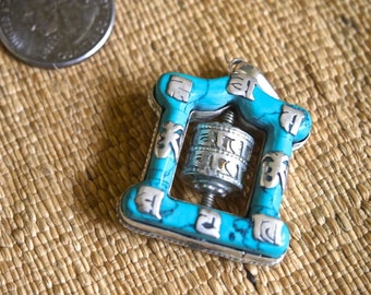 Temple-shaped Turquoise and Silver Prayer Wheel Pendant